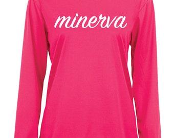 SALE Minerva Cursive Logo Performance Long Sleeve | Pink
