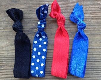 Elastic Hair Ties for Runners - Nautical Colors - Set of 4
