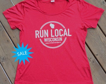 SALE Run Local Wisconsin Performance T-shirt Red
