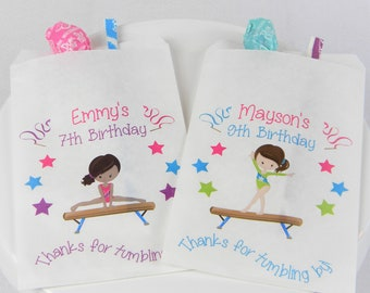 Personalized Gymnastics Birthday Party Treat Bags Favor 4 X 6 Many Graphics To Choose From