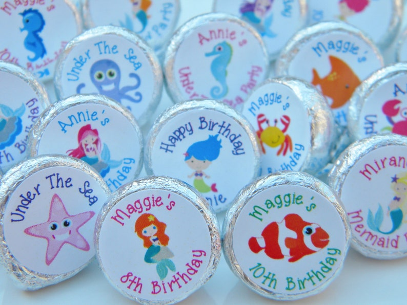 108 Mermaid Hershey Kiss Stickers favors under the sea kisses Birthday party