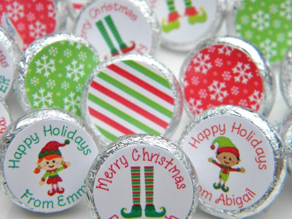 PERSONALISED CHRISTMAS SWEET PARTY BAG ELF KISSES STICKERS LABELS #1