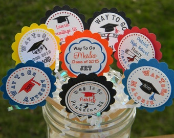 Graduation Favors - Graduation Cupcake Toppers - Personalized Graduation Cupcake Toppers - Graduation Party Favors - Graduation