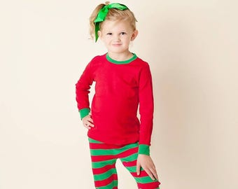 1c1148f48c Red and Green Striped Pajamas Christmas Pjs