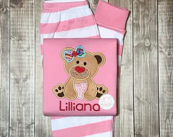 88cc80837b Valentines Pajamas - Personalized Heart Valentine s Pjs - Long Sleeved -  Pink White Striped Pajamas - Heart Monogram VDay Outfit- Girls PJ