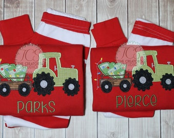 70a58a806a Red White Pajamas with Tractor Applique