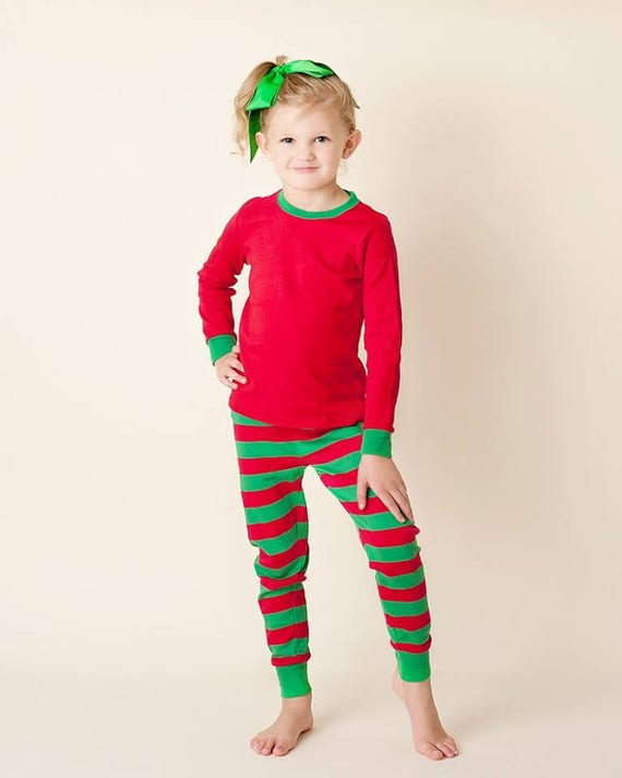 Red and Green Striped Pajamas Christmas Pjs Christmas  1798ccefc43f