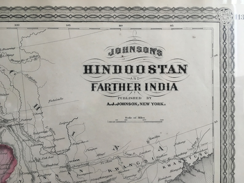 Hindoostan and her India, Antique Map 1867, Original Antique Handcoulored on hanover map, gstaad map, stockholm sweden map, dissolution soviet union map, swiss alps map, strasbourg map, verbier map, lugano map, zermatt map, wald map, basel map,