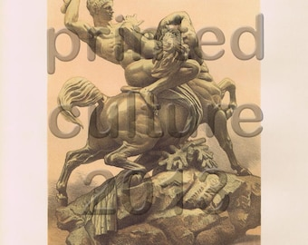 Theseus And The Centaur, Original Antique Print, chromolithograph,  C1860s