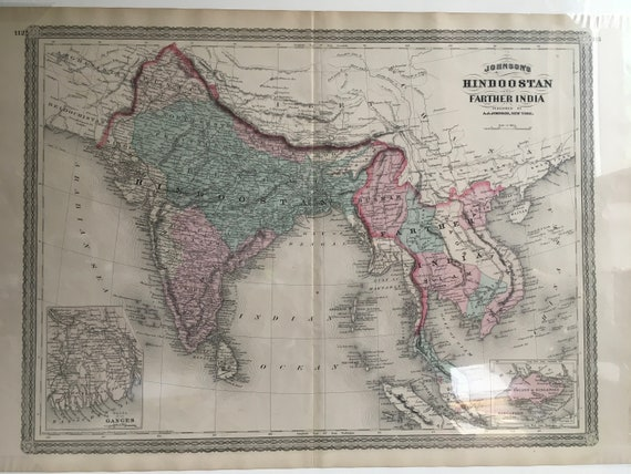 Hindoostan and her India, Antique Map 1867, Original Antique Handcoulored on basel map, wald map, verbier map, hanover map, swiss alps map, strasbourg map, dissolution soviet union map, lugano map, gstaad map, zermatt map, stockholm sweden map,