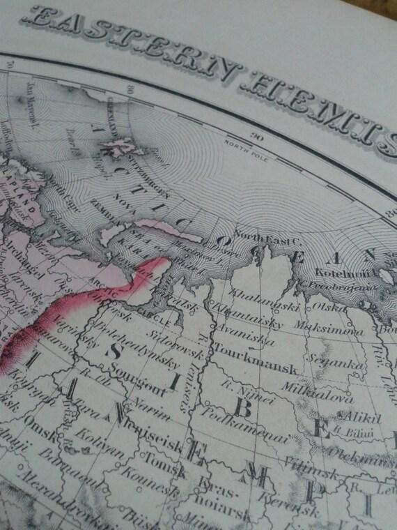 Mapa Antiguo Mundo Globo hemisferio Ilustrado enmarcado impresión 12x16 pulgadas