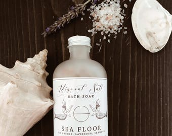 MINERAL SALT SEAFLOOR - Bath Soak. Hawaiian Black Lava, Red Alaea, Himalayian Pink, Dead Sea & Epsom Salts. Organic Essential Oils.