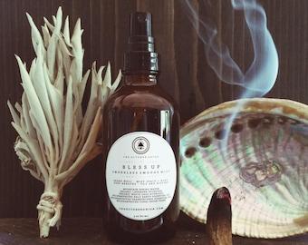 BLESS UP - Organic Smudge Mist. Sacred. Ritual. Cleansing. Purification. White Sage. Palo Santo. Frankincense. Pink Salt.
