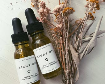 NIGHT OIL - Organic Facial Oil. Deeply Healing. Therapeutic Night Time Treatment. Benefits All Skin Types.