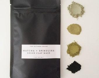 MATCHA + SPIRULINA Green Clay Mask - Organic. Superfood Skin Care. Mineral Mask. Purifying. Calming.