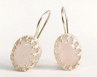 Wedding Earrings For Brides Dainty, Rose Quartz Earrings Silver 925, Drop Earrings Bride, Birthstone Earrings For Mom, Earrings With Stones