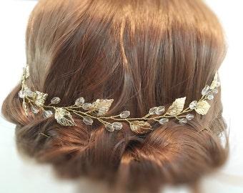 Wedding Hair Piece Gold, bridal hair piece wedding hair accessories, bridal headpiece, leaf hair piece, headpiece wedding, bridal accessory