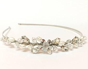 Wedding Headband Silver Wedding Bridal Headband Pearl Headband For Wedding, Wedding Headpiece Pearl Headband Bridal Hair Accessories Wedding