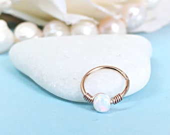 Wedding Earring Hoop Cartilage Earring Opal Helix Earring For Bride, Rose Gold Earrings Bridal Earring Opal Cartilage Hoop Earring Wedding