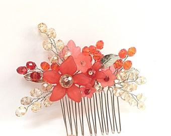 Crystal Hair Comb, bridesmaid hair comb red, wedding hair accessories, flower hair combs, hair combs for wedding, bridesmaid hair piece