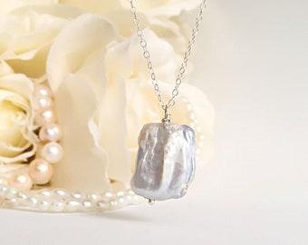 Wedding Necklaces For Brides, Pearl Necklace Wedding Jewelry For Brides, Baroque Pearl Necklace For Women, Bridal Necklace Pearl Pendant