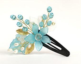 Flower Girl Headpiece Blue Hair Pin Flower Girl Hair Clip Flower Girl Hair Accessories Blue Hair Clip Flower Girl Hair Piece Blue Head Piece