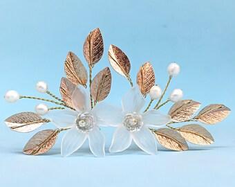 Wedding Hair Pins Rose Gold Hair Pin Wedding Hair Accessories Wedding Hair Pieces For Bride, Gold Bridal Hair Pins Flower Hair Pin Rose Gold