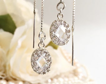 Long Chain Earrings, Wedding Crystal Earrings Dangle, Threader Earrings Sterling Silver, CZ Chain Earrings Bridesmaid, Earrings for Bride