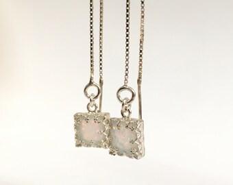Wedding Earrings For Bride, Opal Earrings For Women, Ear Threader Earrings Silver, Bridal Earrings Opal Jewelry, Wedding Jewelry For Brides