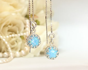 Wedding Earrings For Brides Blue, Cartilage Earring Dangle, Opal Jewelry For Woman, Threader Earrings Wedding, Bridal Earrings For Wedding