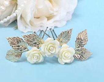 Flower Hair Pin Ivory Wedding Hair Pins Floral Hair Pins Bridal Hair Pins Leaves Hair Pins Wedding Hair Accessories Flower Hair Pins Wedding