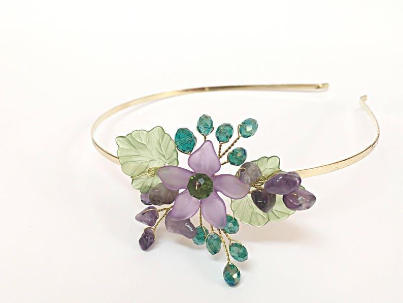 Purple and Green Flower Headband Women Tiara Headband Bridesmaid Headband Womens Headband Purple Flower Hair Accessories for Short Hair