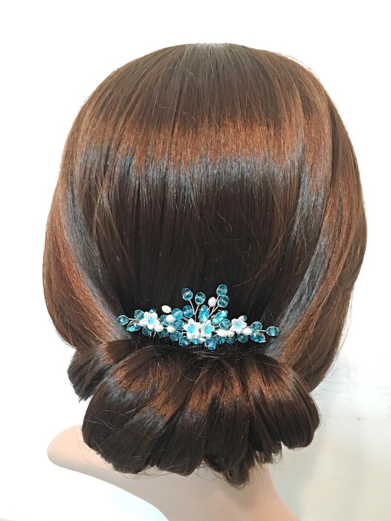 Crystal Hair Comb Wedding Hair Comb Blue Bridesmaid Hair Accessories Flower Hair Combs For Bride Bridesmaid Hair Piece Blue Hair Comb Bridal