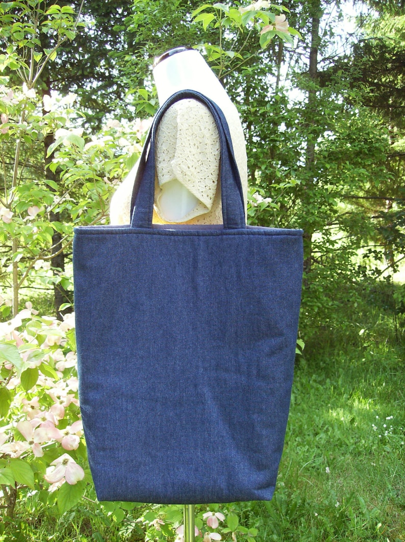 Yellow Butterfly Tote Bag Large Tote Bag Denim Tote Bag Large CraftMarketBook Tote Bag