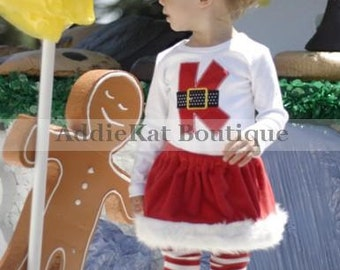 f39d5cc0cb4 Personalized Mrs. Claus Christmas Faux Fur Girl s Boutique Santa Skirt  Outfit - Matching Boy s Outfit Available - Twins - Sibling Set