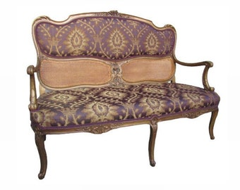 RESTORED Antique French 1800s Settee loveseat love seat sofa couch gold gilded glamour louis xvi purple