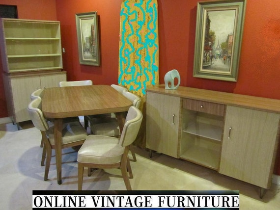 1950s Walter of Wabash Howell Dining Room Set vintage mid century  mid-century modern table chairs china cabinet buffet bookcase formica