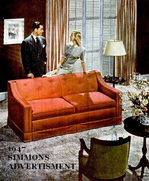 Fabulous 1940S Vintage Sofa Couch Davenport Long Mid Century Midcentury Mid Century Modern Retro Hollywood Regency Art Deco Living Room Pdpeps Interior Chair Design Pdpepsorg