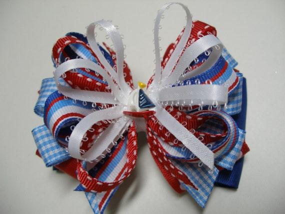 VOILIER cheveux noeud Vichy blanc Royal bleu vérifier 4 juillet USA rouge d'été enfant Sail Away Boutique RWB nautique Nantucket