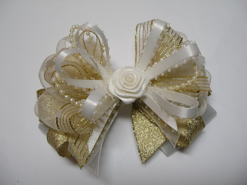 Baby Girl XMAS Ivory Gold Elegant  Sheer Organza Glitz Hair Bow Headband Clip