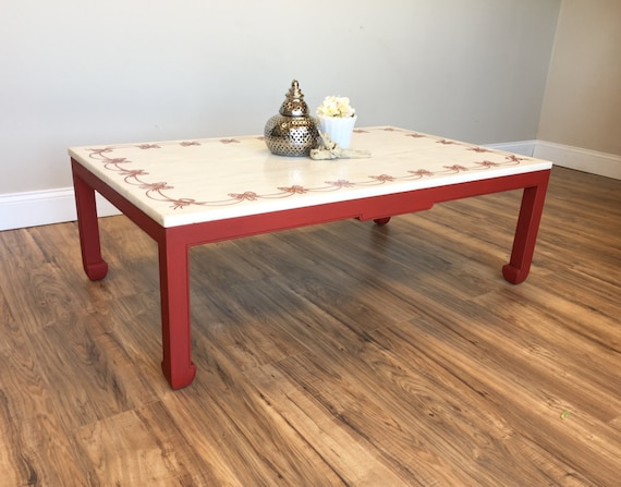 Red Marble Top Coffee Table made in Italy