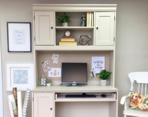 White Computer Desk with Hutch - Large Distressed Hooker Furniture PC Desk