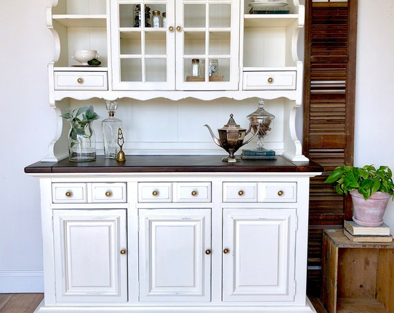 White Farmhouse Hutch - Shabby Chic Painted Furniture