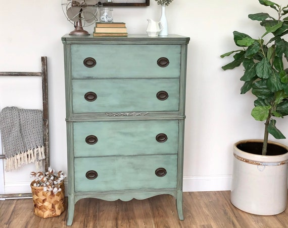 Mint Green Dresser Federal Style Furniture - Vintage Chest of Drawers