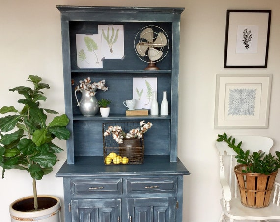 Blue Farmhouse Hutch - Rustic Pantry Cupboard - Vintage Dining Room China Cabinet - Painted Furniture