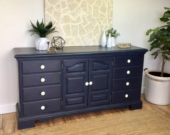 Navy Blue Dresser - Vintage Furniture - Chest of Drawers - Distressed Dresser - Coastal Furniture - Nursery Dresser - Painted Furniture