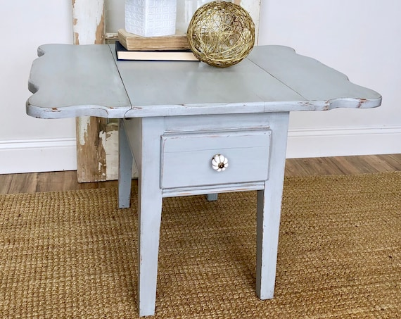 Blue Gray Distressed End Table - Small Living Room Table
