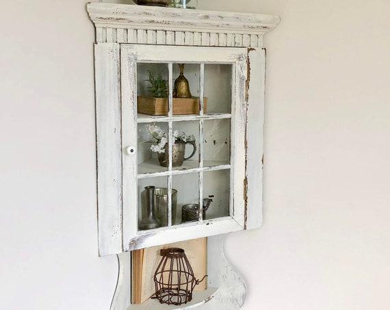 Small Corner Wall Cabinet - White Rustic Curio Cabinet - White Bathroom Corner Shelf - Farmhouse Shabby Chic Cabinet - Distressed Furniture
