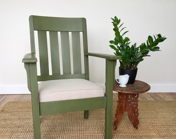 Green Mission Style Arm Chair   Home Office Furniture