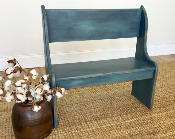 Small Wooden Bench - Playroom Furniture - Blue Bench - Kids Room Furniture - Kids Bench - Bench with Back - Front Porch Decor, Toddler Bench